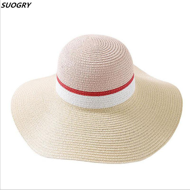 1668563cc Hot Sale Summer Sun Hats For Women Large Brim With Ribbons Stripe Beach Hat  Cap Ladies Sun Hat UV Protect Chapeu Feminino Hat Hats From  Hongxuanstore02, ...