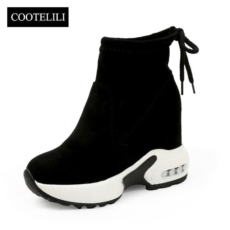 premium selection b9cc7 2ea69 Mode Zunehmende Schuhe Frauen High Heels Stiefeletten Für Frauen Herbst  Winter Gummistiefel Frauen Pumpt Damen