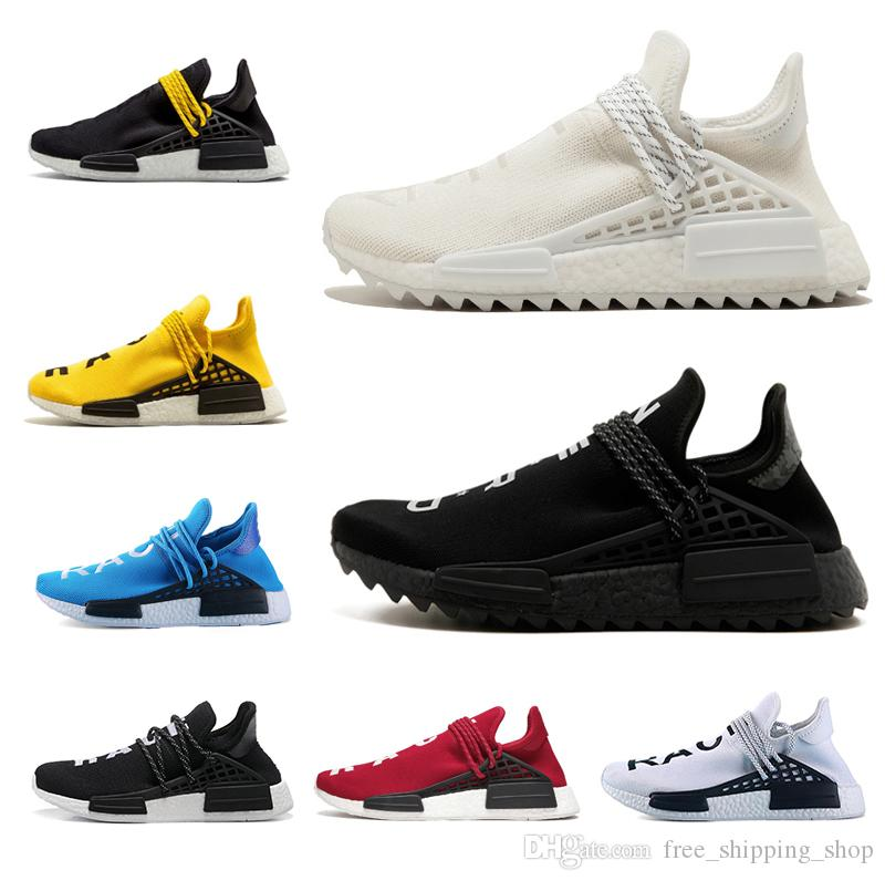 f44dda5093904 Designer Human Race Hu Trail Pharrell Williams Men Running Shoes Cream  Black White Women Sneaker Mens Trainer Sports Casual Jogging Shoe Jogging  Shoes Sale ...