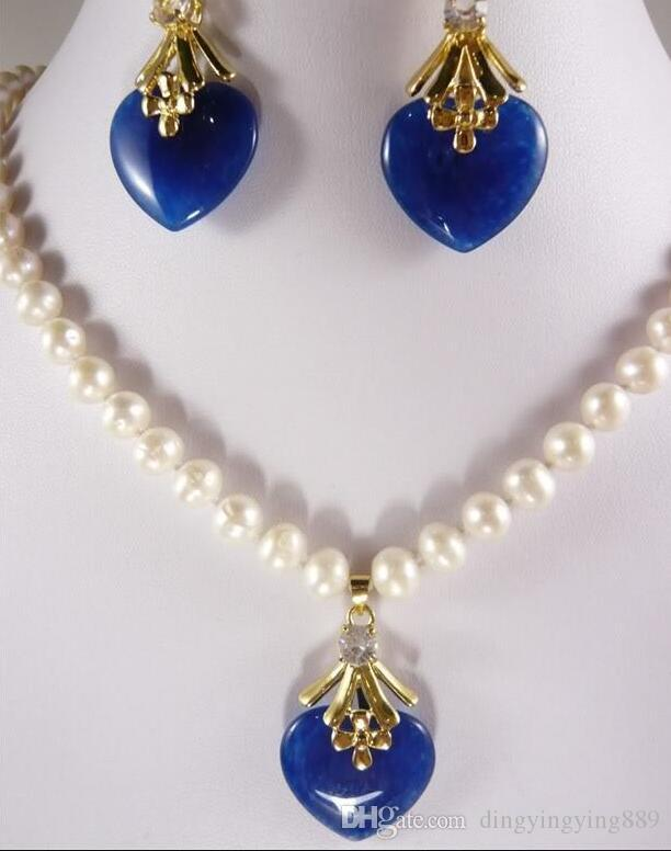 "jewelry hot sell new - NEW stunning 7-8MM White Pearl Blue Jade Earring Set 18"" 18K gold plated watch wholesale Quartz stone"
