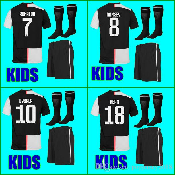 promo code 09e21 2bb92 19 20 Juventus soccer Jersey kids Kit sets socks 2019 2020 RONALDO RAMSEY  DYBALA KEAN MANDZUKIC CHIELLINI boys football Shirt uniforms