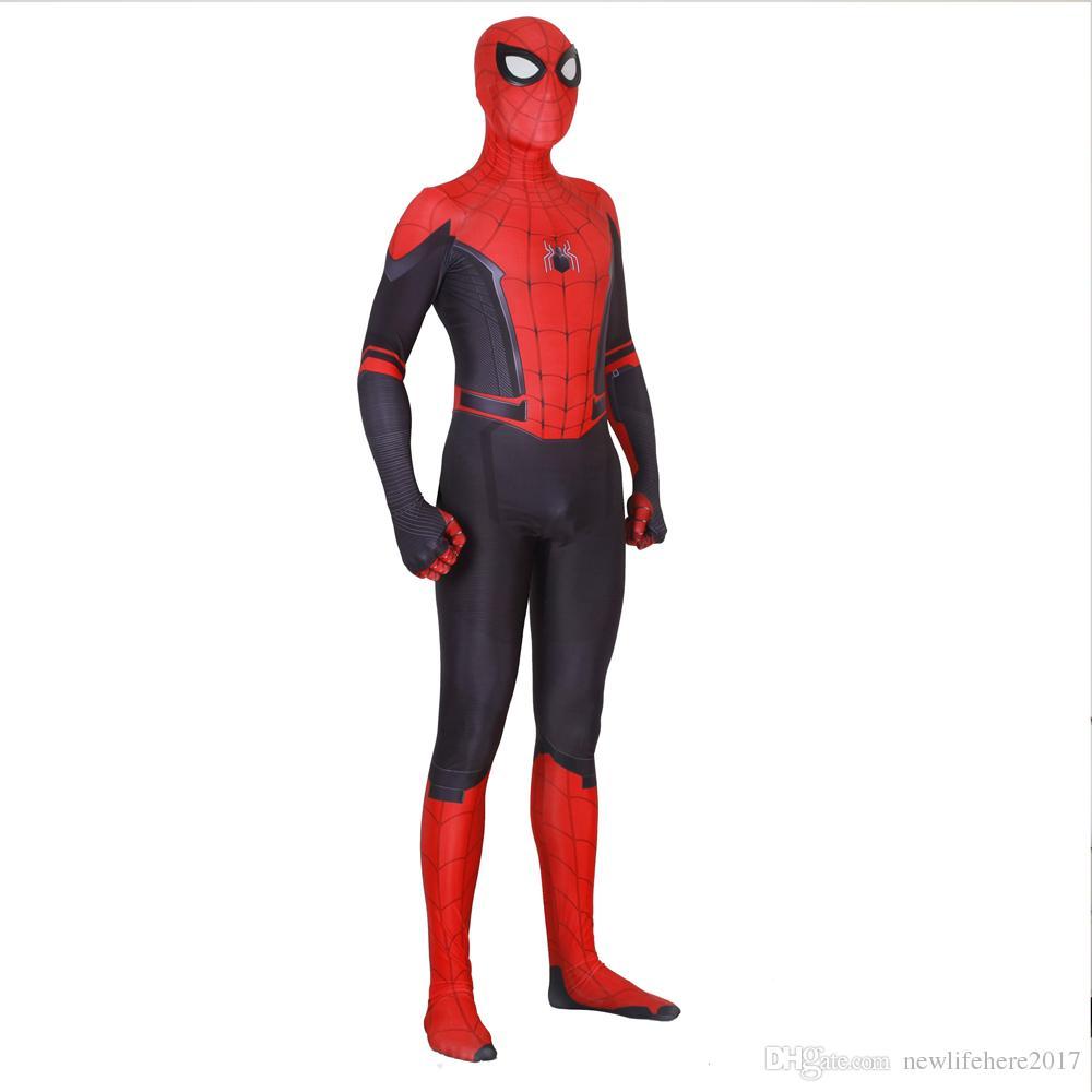 Compre Adulto Niños Spider Man Lejos De Casa Peter Parker Cosplay Zentai  Spiderman Superhero Body Traje Monos A  37.06 Del Newlifehere2017  1278f72d146e