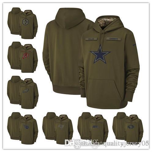 Men Cowboys Seahawks Eagles Steelers 49ers Buccaneers Titans Redskins Salute  to Service Sideline Therma Performance Pullover Hoodie Olive Jackets Hoodies  ... 76660110b