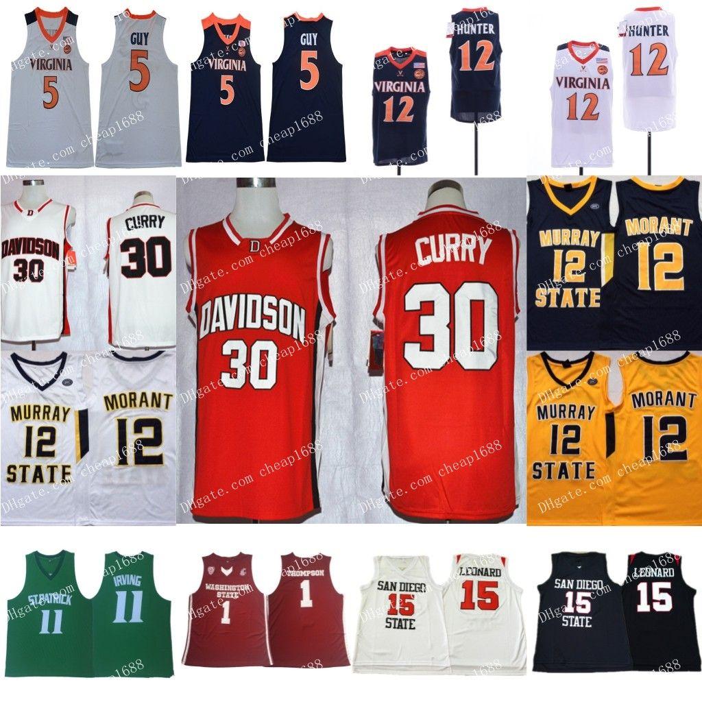 6834097828e NCAA 30 Curry 1 Thompson 15 Leonard 11 Irving 12 Ja Morant 5 Kyle Guy 12  De'Andre Hunter Jerseys Stephen Klay Kawhi Kyrie