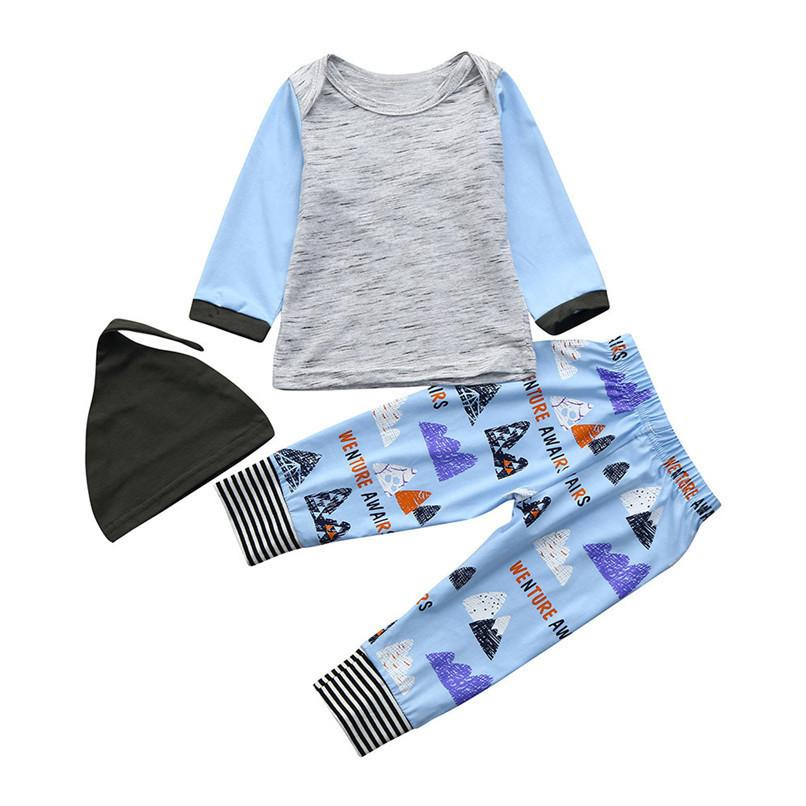 2019 New 3pcs Kids Clothes Toddler Kids Baby Boys Girls Long Sleeve Tops Striped Printed Pant Hat Set Clothes Baby Sets Jy18 F