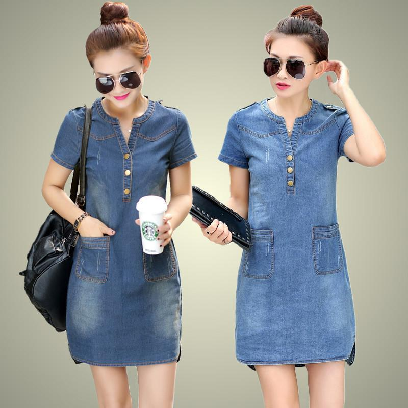 Vendita calda 2017 New Summer Denim Dress Women Allentato Moda Jean Dress Lady Slim manica corta Taglie forti Ty5071 Y19012201