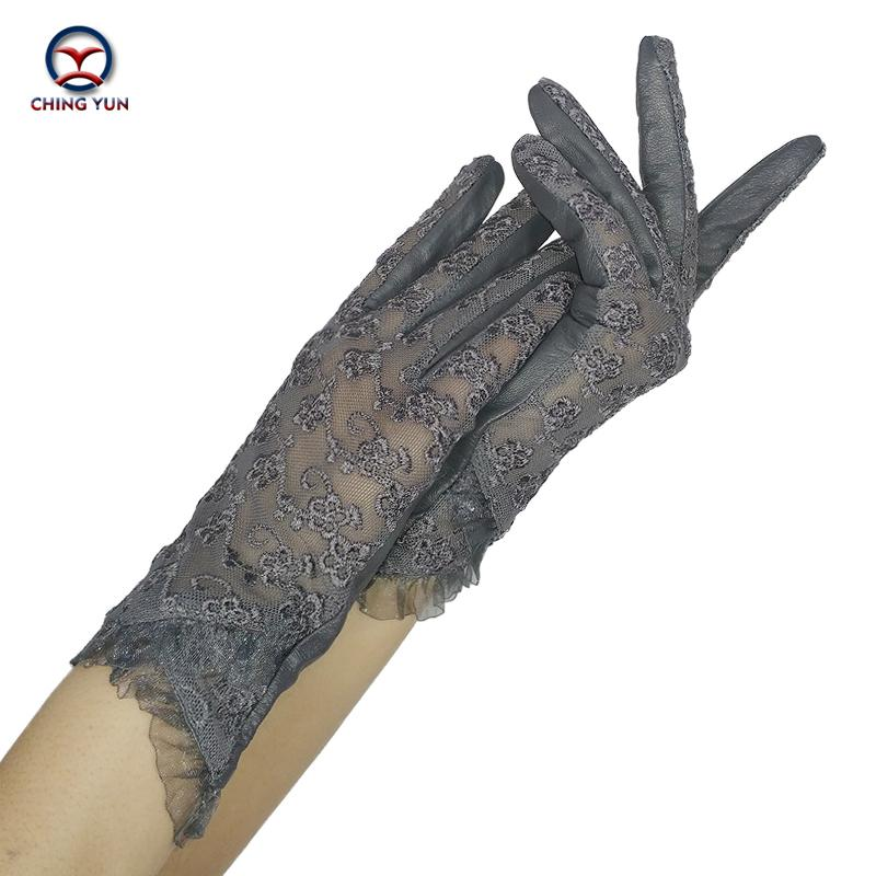 CHING YUN Women Lace Gloves 2019 New Spring Woman Ultra-thin Gloves Leather Solid Women's Fashion Soft Sheepskin Ladies