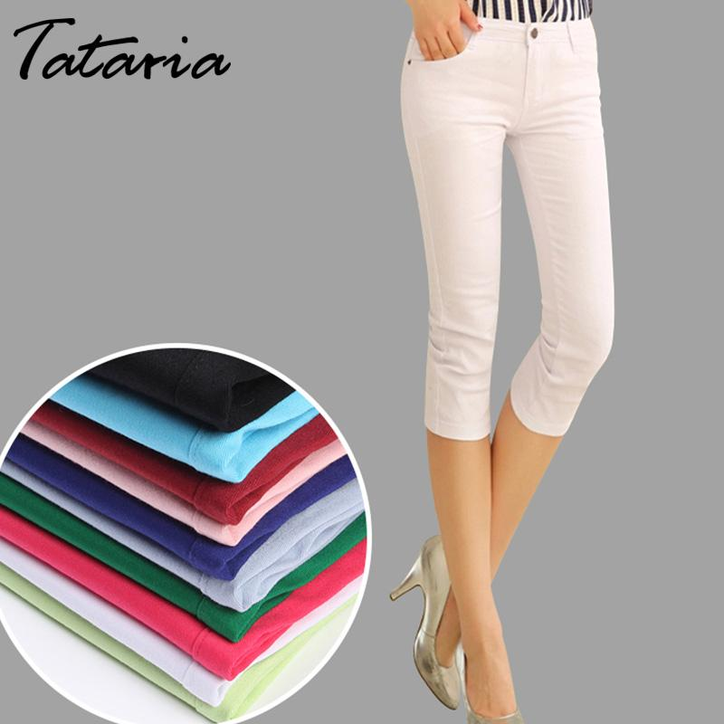 Active Plus Size Skinny Capris Jeans Woman High Waisted Jeans Female Summer Stretch Skinny Knee Length Denim Pants Women's Clothing