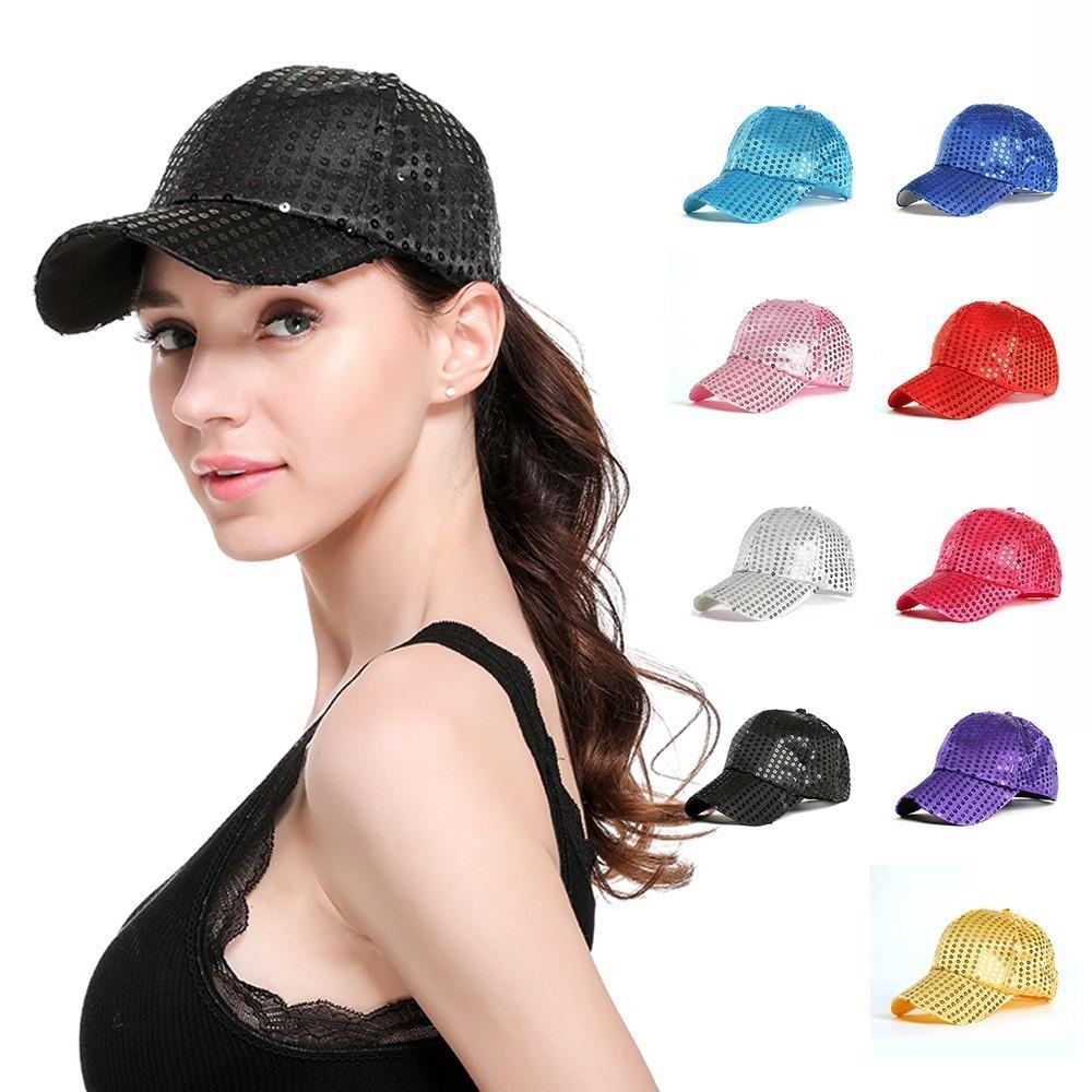 979800263 Glitter Ponytail Baseball Cap Women Sequins Fedora Ponytail Adjustable  Glitter Mesh Trucker Baseball Cap