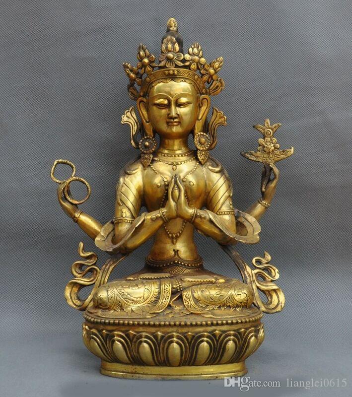 Tibet Temple Bronze Gilt Inlay Red Coral Gem 4 Arms Chenrezig Tara Buddha Statue Asian Antiques