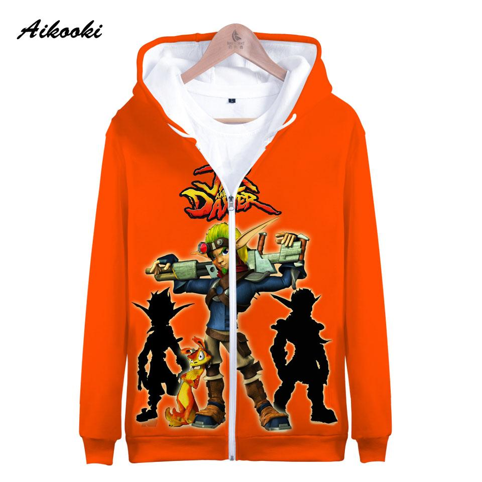 713adce19d5e7 Aikooki 3D Jak 3 Zipper Hoodies Men/Women Sweatshirts Hoody Jak 3 Daxter  Zipper Hooded Boy/Girls Polluver Orange Design Clothes