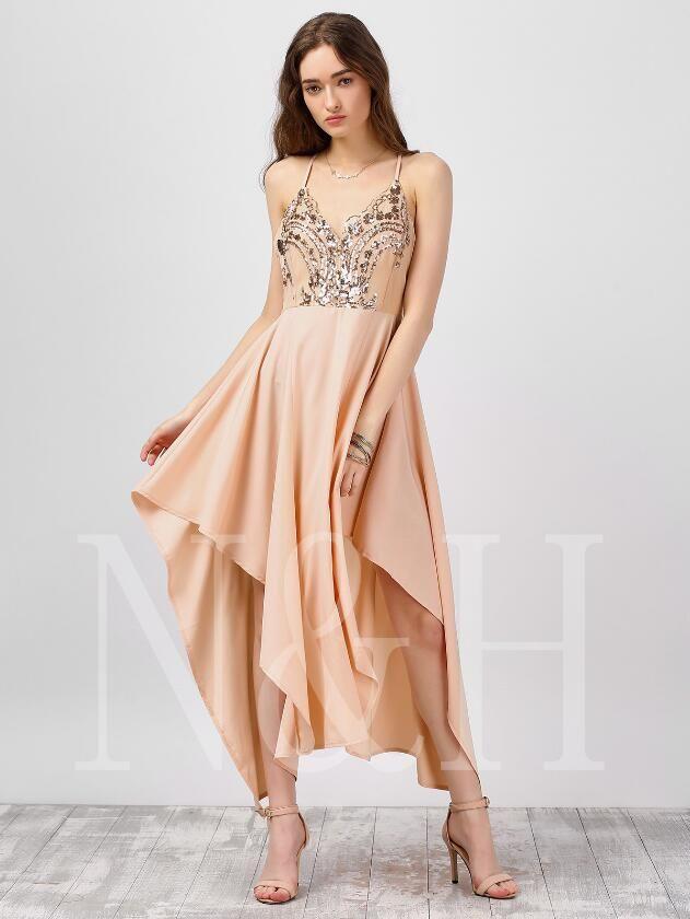 timeless design 3f0b3 30099 le donne prom dress ricamato modello paillettes sexy profondo V sling big  swing gonna lunga dolce stile europeo e americano nuovo