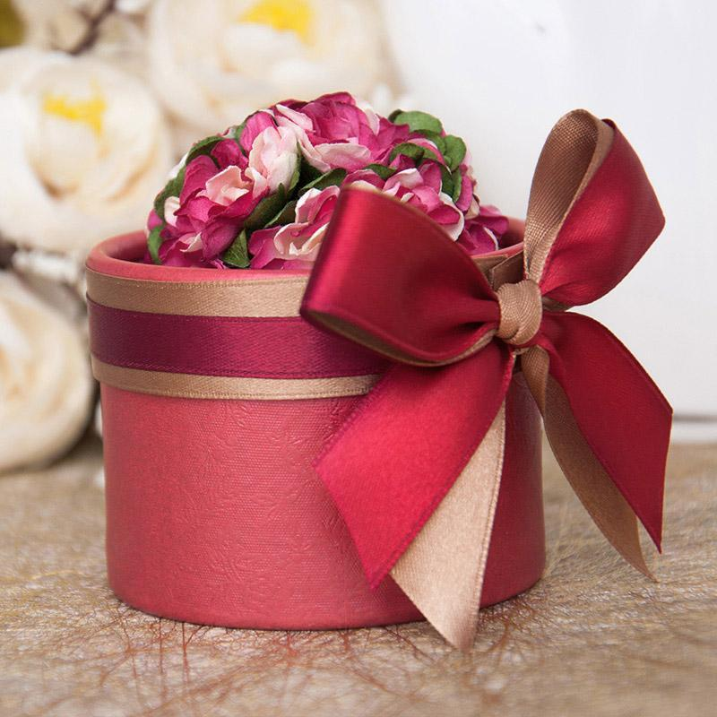(80pcs )Luxury European Flower Cylindrical Style Diamond Crystal Wedding Candy Box Case With Silk Ribbon Wraps Gift #01 Full Red