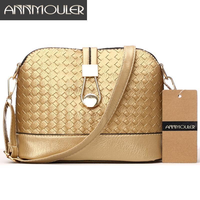 cc962e16f Annmouler Designer Women Shoulder Bag Knitting Small Bag Pu Leather  Crossbody Gold Silver Shell Messenger Discount Designer Handbags Wholesale  Purses From ...