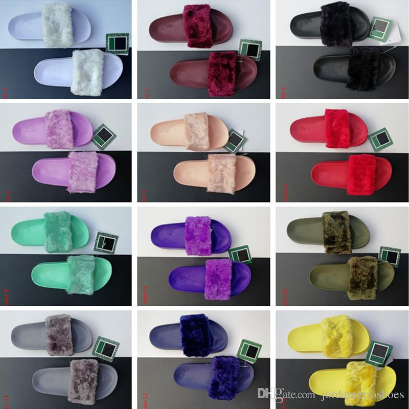 High Quality Leadcat Fenty Rihanna Faux Fur Slippers Women Indoor Sandals Girls Fashion Scuffs Pink Black White Grey Slides