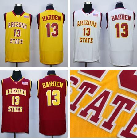 new concept 60db6 21db6 Men 13 James Harden College Jerseys Arizona State Sun Devils Jersey Men  Basketball Team Red Away Yellow White For Sport Fans Free Shipping