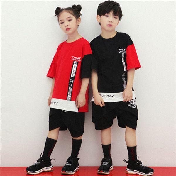 8adf7b913 2019 Summer Boys Girls Hip Hop Dance Costumes For Kids Girl Hooded Camo  Jacket + Black Shorts 2pcs Children Clothing Set 120 180