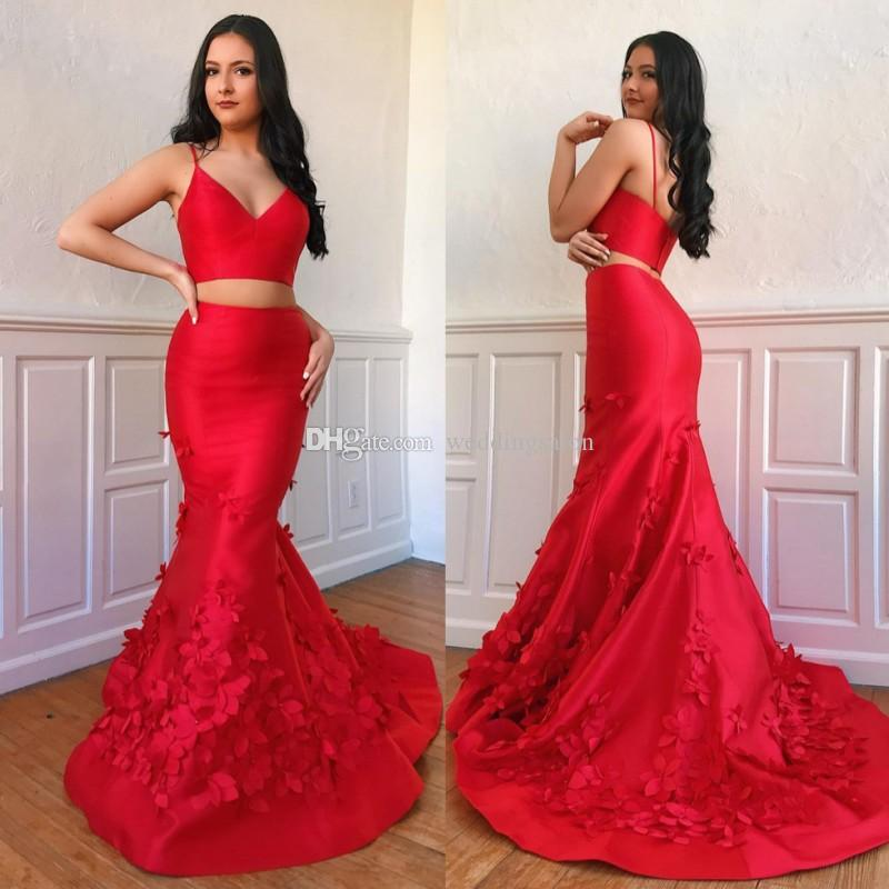 2d64729b4e Red Mermaid Two Pieces Prom Dresses Spaghetti Straps V Neck Appliqued Party  Dress Beaded Sweep Train Satin Plus Size Evening Gowns Topshop Prom Dresses  ...