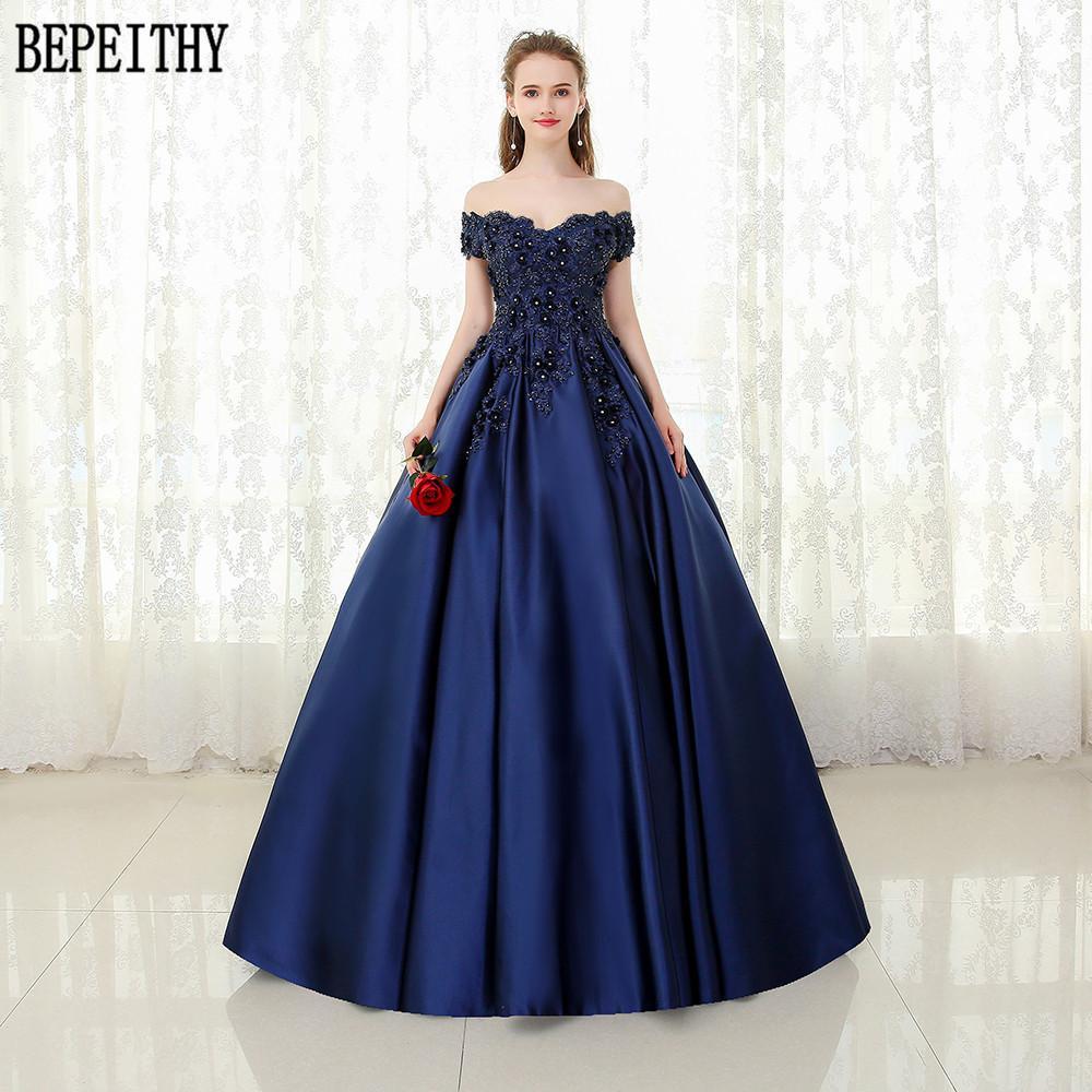 5ff295318c74c Bepeithy Custom Made Vestido De Festa V-neck Navy Blue Lace Beaded Vintage  Prom Dress Off The Shoulder Long Evening Dress 2019 Y19042701