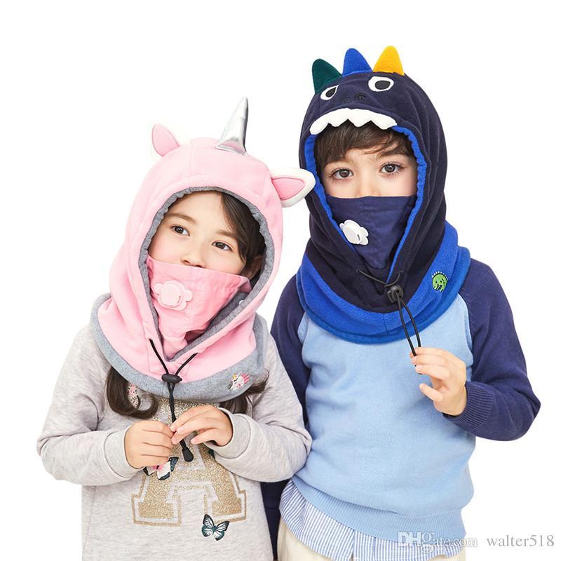 a59e7a1d3c1 2019 Cute Cartoon Children Winter Animal Bear Dinosaur Masks Hats Kids Baby  Thermal Fleece Face Beanies Warmer Hats Thick Hat NM 008 From Walter518