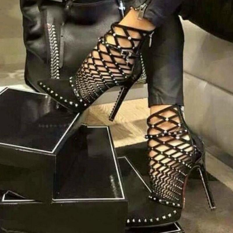 e1bbdff89d3e 2019 Gladiator Sandals Summer Spring Pointed Toe Rivets Studded Cut Out  Caged Ankle Boots Stiletto Heel Women Shoes Fashion Shoes Cheap Shoes For Men  From ...