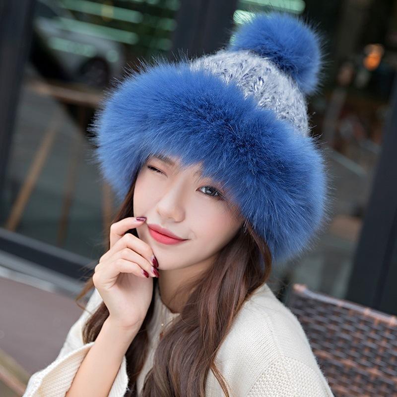 ddc4294e0 2018 Fashion Women Winter Beanies Pom Pom Hats Rabbit Knitted Skullies Cap  Elegant Ladies Winter Thick Warm Russian Cossack Hat