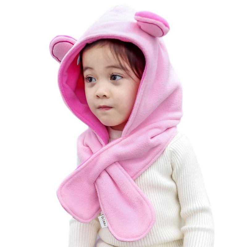 Children Kids Winter Thick Hat Cute Bear Ears Contrast Color Hooded Scarf  Faux Rabbit Fur Plush Neck Warmer Beanie Cap UK 2019 From Jumeiluo c0df0a9c7f51