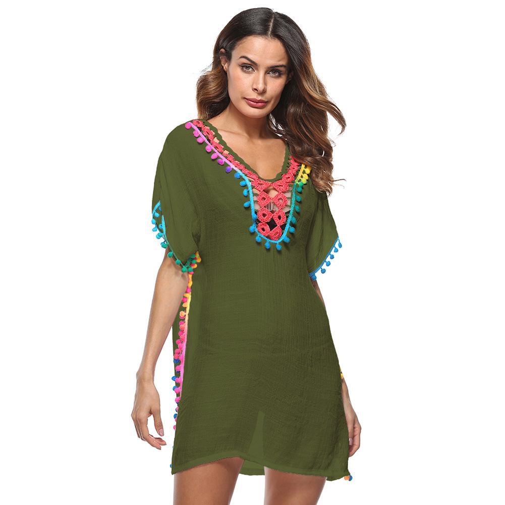d8e4220efde9 Acquista Donne Vintage Boho Beach Cover O Neck Nappe Manica Corta Con Frange  Spalato Beachwear Casual Summer Dress 2019 Costume Da Bagno Coverups A   30.44 ...