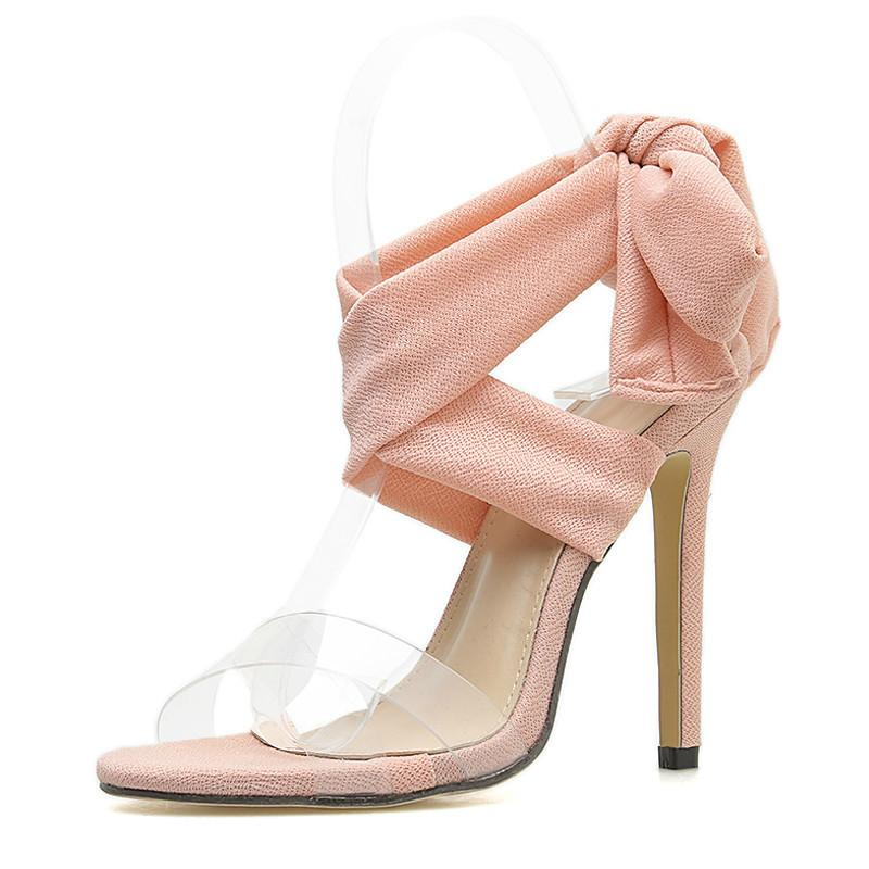 0f0a10ebb26 Pink Thin Heels Sandals Women Cross Tied Heels Ladies Ankle Strap Lace Up  Party Bow Super High 11CM Women Shoes Sandal Ladies Shoes From Emmaj01