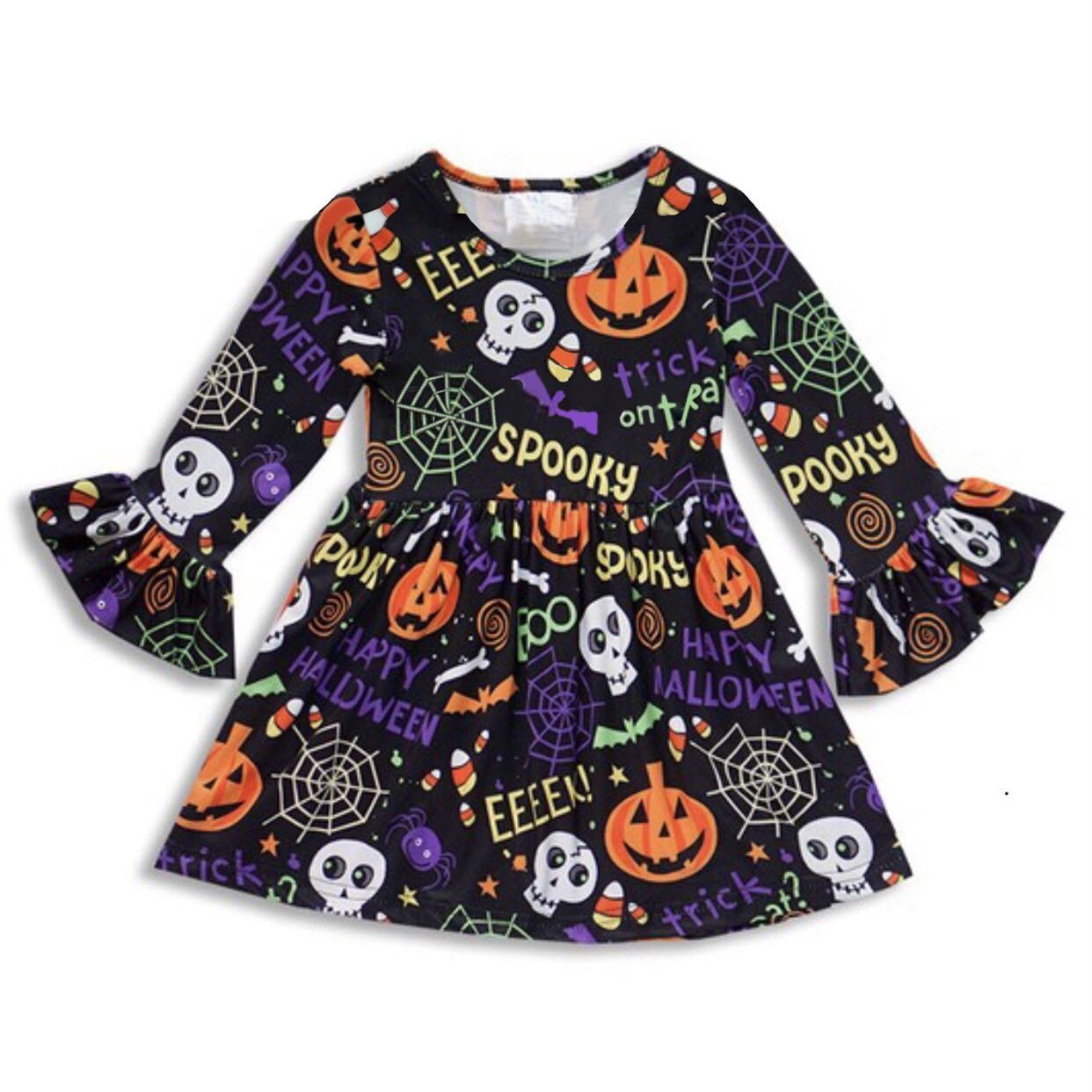 0b6297c98fa8e Girl Dress Halloween Children Skeleton Pumpkin Dress Autumn Long Sleeve  Baby Dress Halloween Party Costume Pumpkin Clothing