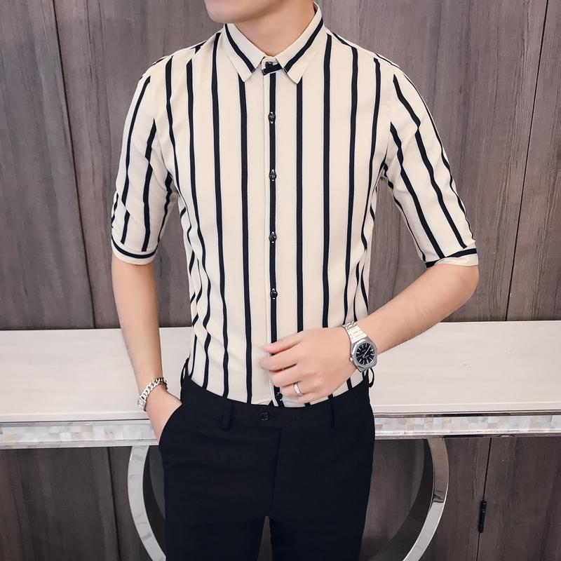 421ae2a6c17 2019 Hot Sale Men Shirt Brand New Slim Fit Striped Shirts Mens Half Sleeve  Business Formal Wear Blouse Homme 3XL M From Workwell