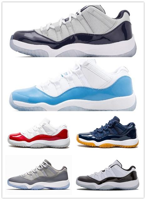 3c803d7f88d Jumpman 11 Low White Red Navy Gum Basketball Shoes Bred Georgetown Space  Jam Citrus GS Basketball Sneakers Women Men Kids 11s Low XI Boys Sports  Shoes ...