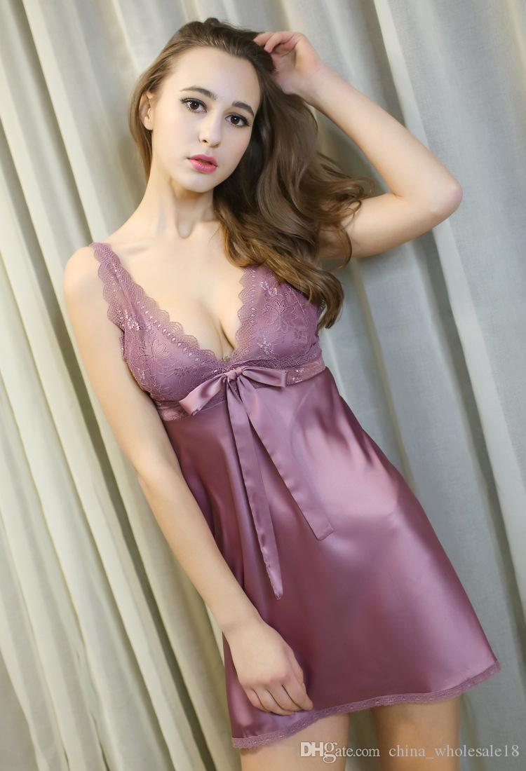 99b8860b66 2019 Wholesale Ladies Sexy Silk Satin Nightgown Sleeveless Nightdress  Sleepwear Lace Nighties V Neck Sleepwear Nightwear For Women From  China_wholesale18, ...