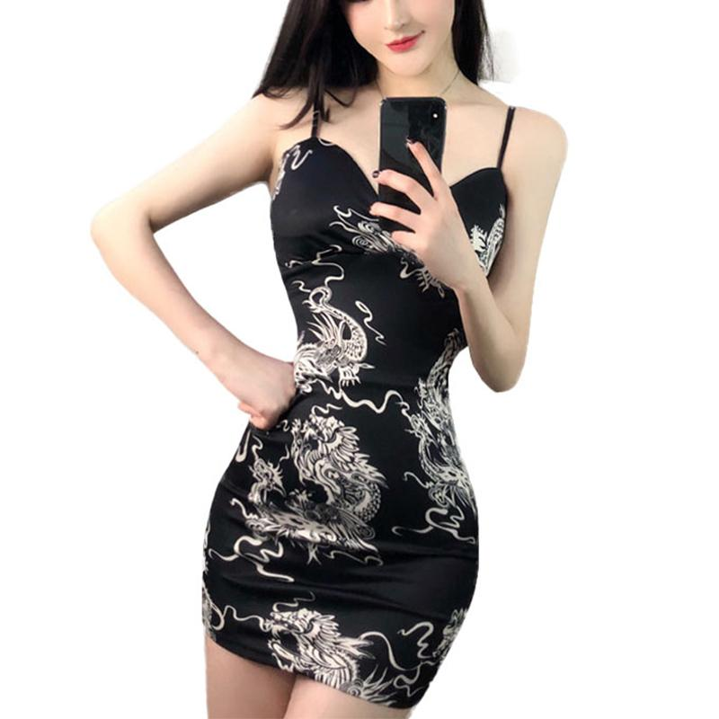26c68c2e39c28 2019 Black Women 2018 Summer Chinese Dragon Print Mini Dress Sexy Bodycon  Spaghetti Strap Dress High Waist Short Dress Vestidos From Heymonster02, ...