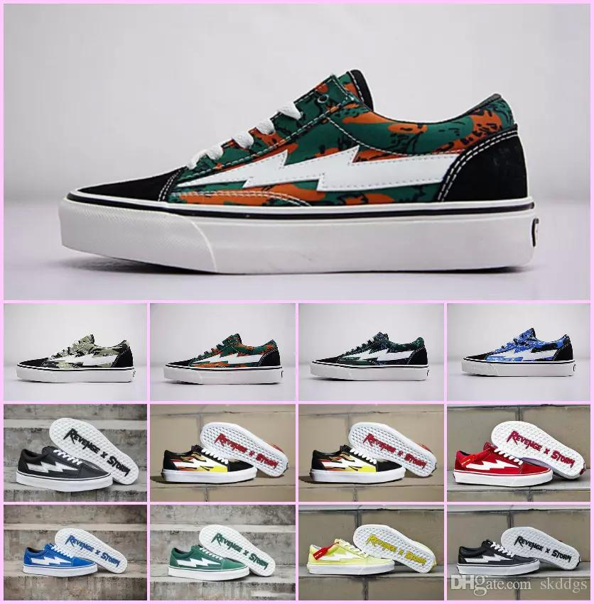 Venta al por mayor 2018 NUEVAS zapatillas Revenge x Storm Pop up Store Top Quality Old SKool Off Fashion Grid Skateboard para hombre vulcanizado en zapatos de lona
