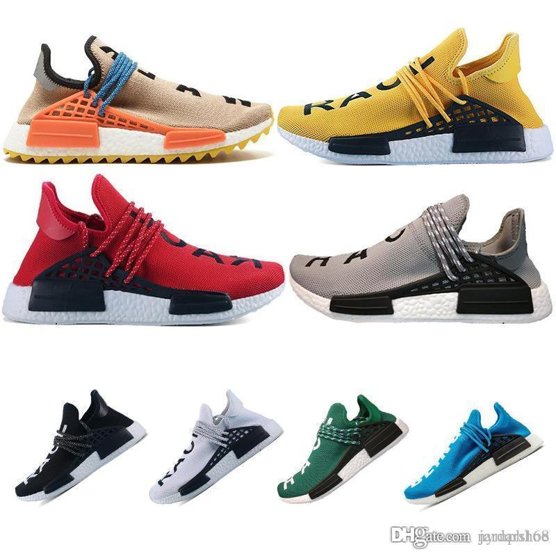93c4d37370856 High Quality Men Women Pharrell Williams HU Runner Yellow Black White Red  Green Grey Blue Sports SneakerCheap Human Race Trail Running Shoes Nude  Shoes ...