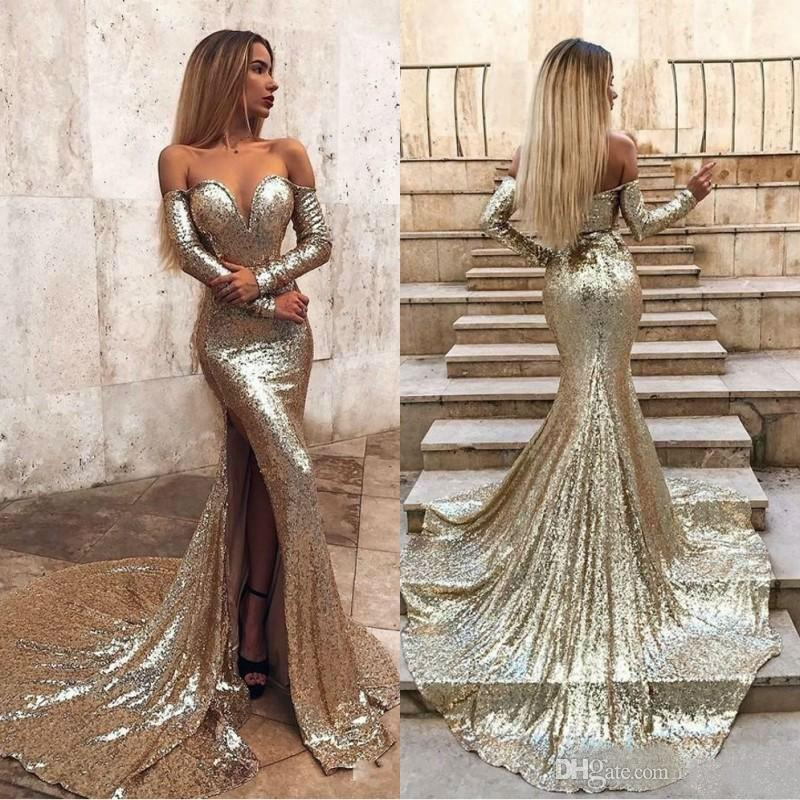 ab7b0fd75f2855 Sexy Slim Fit Mermaid Prom Dresses 2019 Off Shoulder Long Sleeve Sequined  Thigh High Slit Cocktail Party Dresses Formal Evening Gowns Best Prom  Dresses 2015 ...