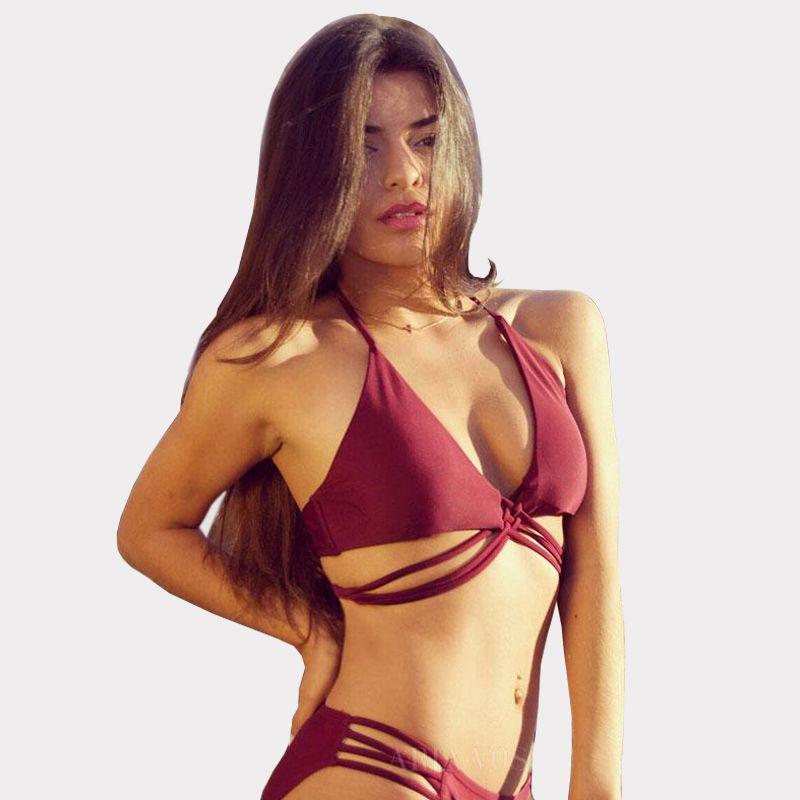 82eb04cca510f 2019 Sexy Women Burgundy Cross Strappy Bikini Set Push Up Halter Top  Swimsuit Beachwear Hot Beach Suit CCI0153 From Hhwq105, $10.46 | DHgate.Com