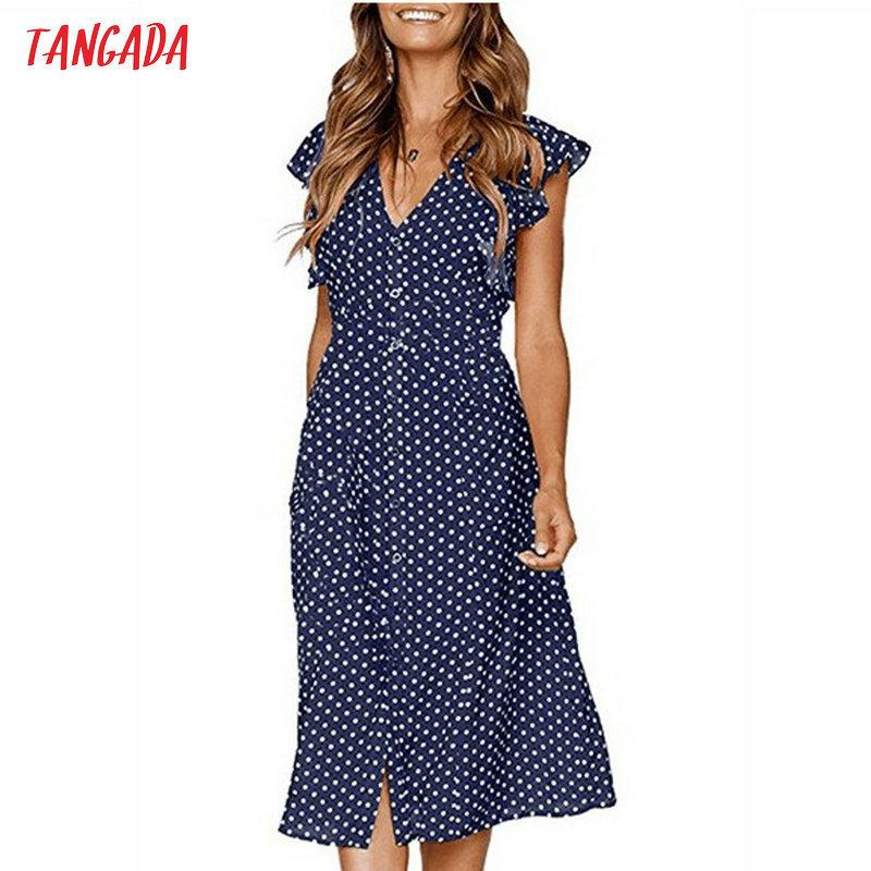 Tangada Polka Dot For Women Office Midi 80s 2019 Vintage Cute A-line Dress Red Blue Ruffle Sleeve Vestidos Aon08 C19041701