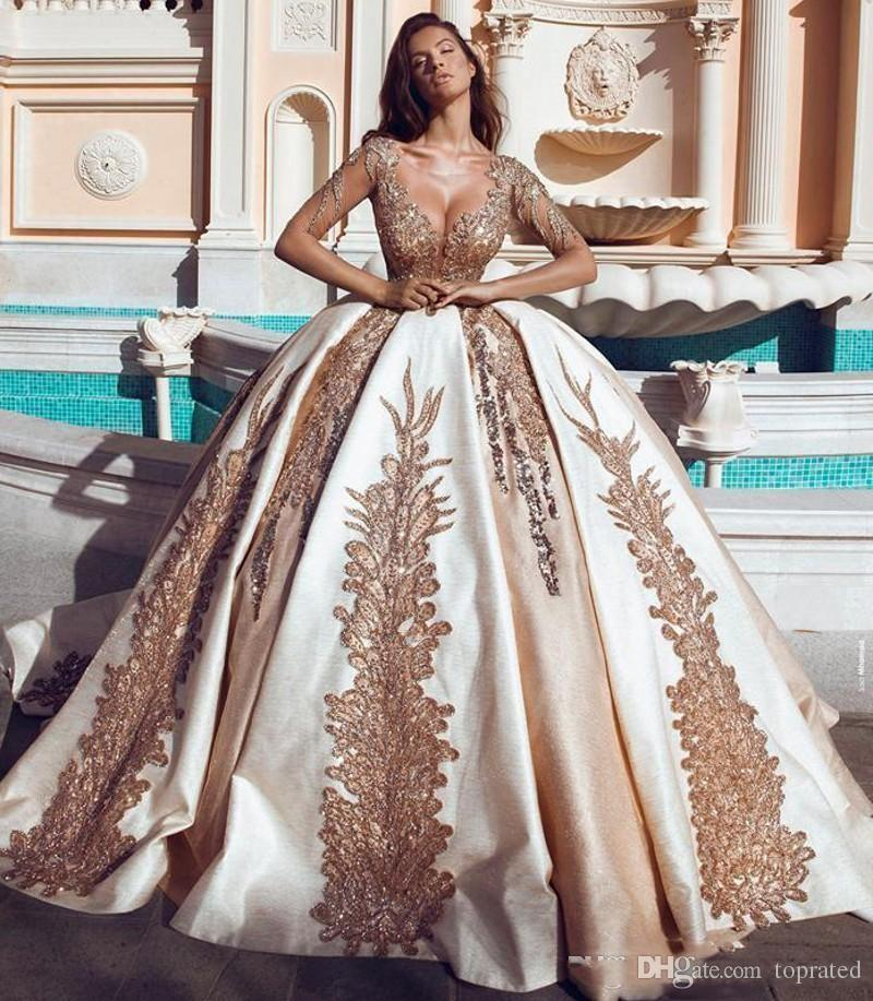 Most Beautiful Ball Gown Wedding Dresses: Discount 2019 Luxury Dubai Wedding Dresses Gold Sequins