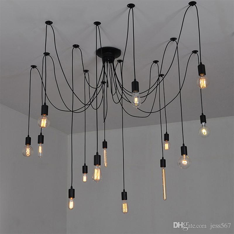 Lampadario vintage Loft Spider Lustre Fai da te E27 Illuminazione  regolabile per soggiorno per cucina Lampade a sospensione per lampadari da  ...
