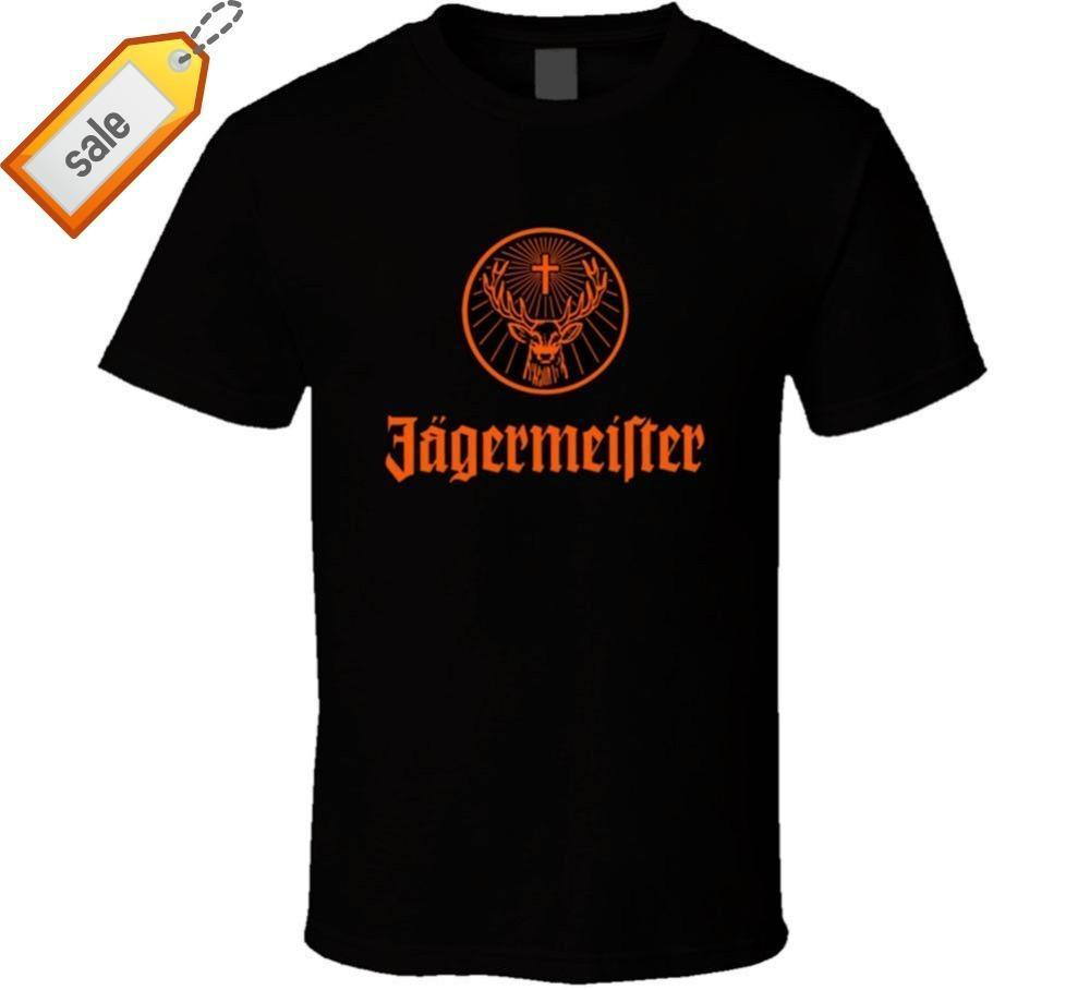 cf7fa4fb82 Compre Jagermeister Logo Alemán Hombres Camiseta Negra 100% Algodón Regalo  De Fan Nuevo De USShort Manga Impresa O Cuello Tee Para Hombres A $14.67  Del ...