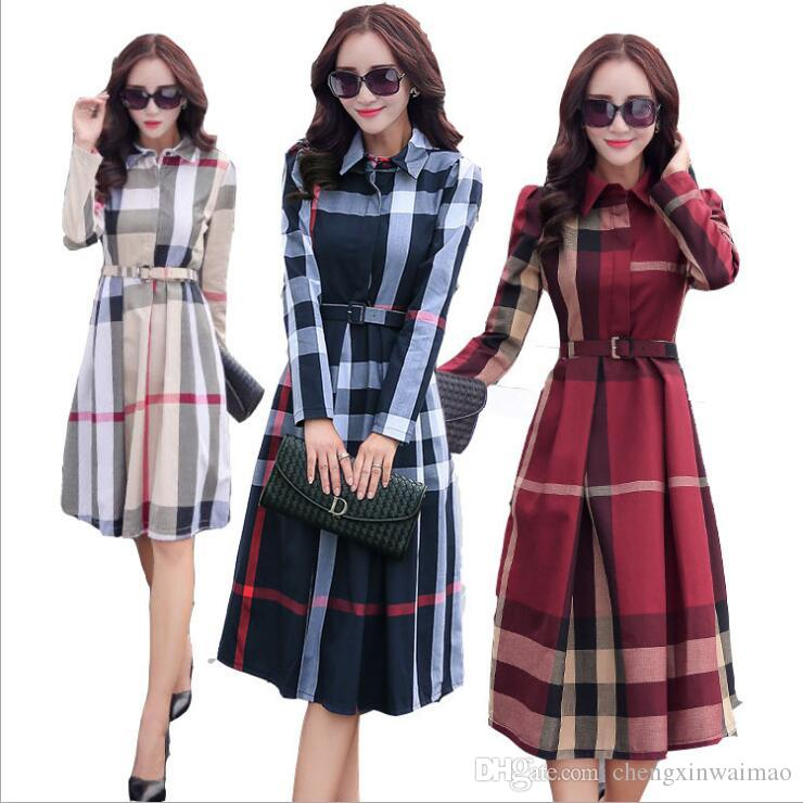 Plus Size Dress Long Sleeve Maxi Dress Work Office Autumn Spring Women  clothes Red Plaid Big Size Elegant Dress