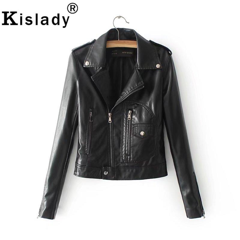 2019 New Women's OL PU Leather Jacket Black White Red Motorcycle Jacket Fashion Slim Faux Leather Coat Autumn Winter Outwear