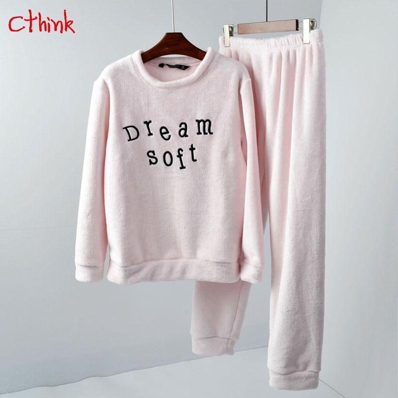 783067f49f7a8 Acheter Bonne Qualité Remise D hiver Pyjamas Femmes De La Mode Cadeau De  Noël Lettre Lettre Broderie Pyjamas Pour Femme En Vrac Femmes Loisirs  Porter De ...
