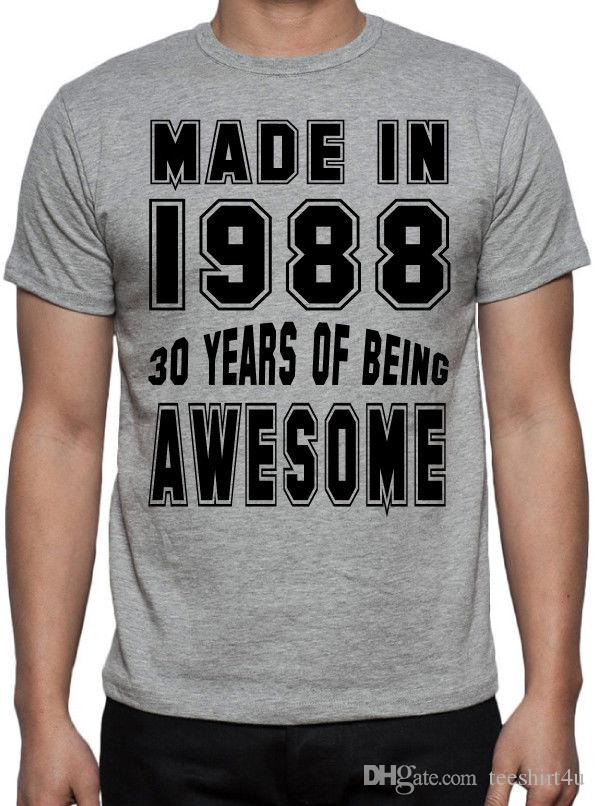 30Th Birthday 30 Years Of Being Awesome Party Gift Present 1988 Grey T Shirt Men Boy Summer Short Sleeve Crewneck Cotton Big Tee Funny