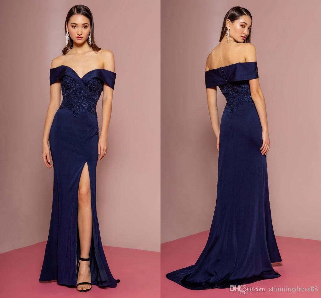 db7b65d67d Dark Blue Vintage Long Evening Formal Dresses Mermaid Side Slit Satin  Applique Beading Sequins Long Cheap Bridesmaid Prom Dress Cheap Dresses For  Juniors ...