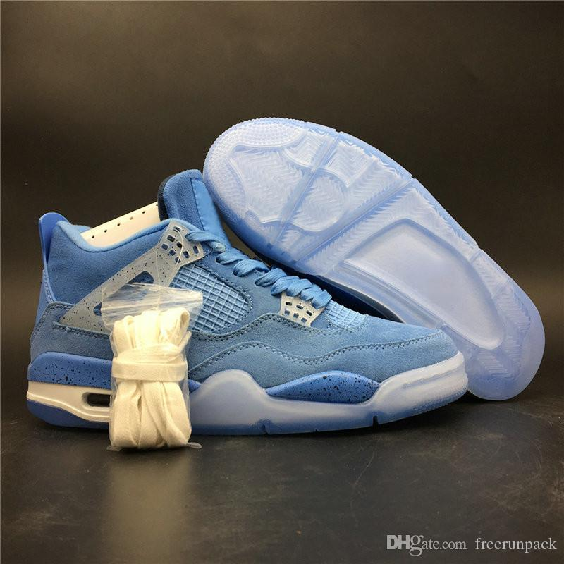 timeless design feacf 0683c New Release 4s University Blue White Man Basketball Designer Shoes Amazing  Suede IV UNC Sky Blue Fashion Trainers Top Quality