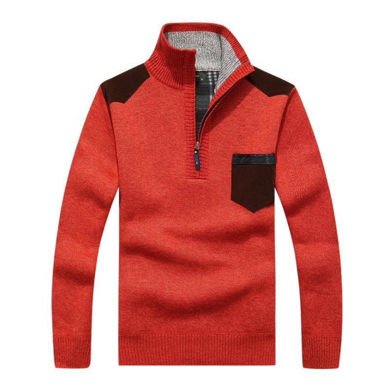 check out af50d ffadc Maglione uomo rosso pullover di lana mezza cerniera maglioni di cachemire  casuali maglione invernale di spessore Sweater maglieria casual solido nero  ...