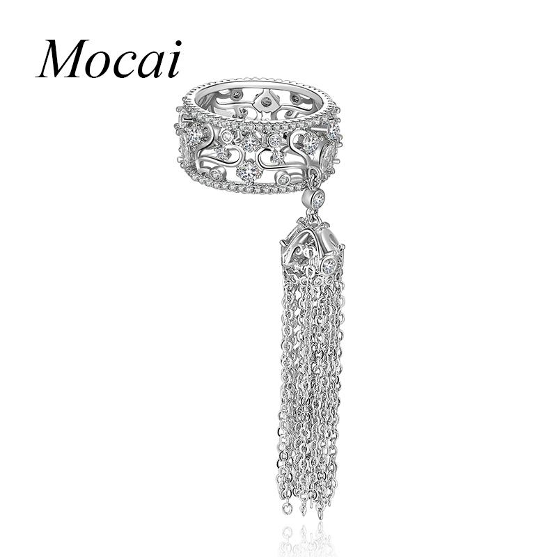 Mochai Engagement Ring For Women Wedding Band Zircon Gold Color Crystal Long Tassel Rings For Women Zk33 Y19051002